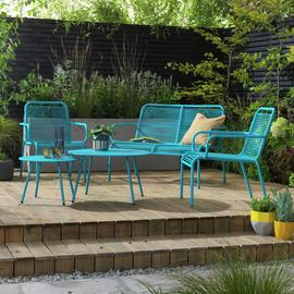 Argos Home Ipanema 4 Seater Rattan Effect Sofa Set - Blue