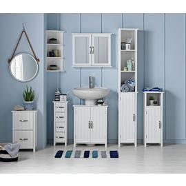 Argos Home Tongue & Groove 4 Drawer Slimline Unit - White