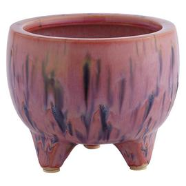Habitat Shiloh Orange-Red Reactive Glaze Footed Plant Pot