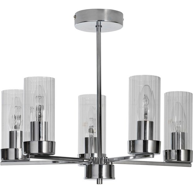 Ceiling Lights Argos: Buy Heart of House Wallis 5 Light Glass & Chrome Ceiling Light at Argos.co.uk  - Your Online Shop for Ceiling and wall lights, Lighting, Home and garden.,Lighting