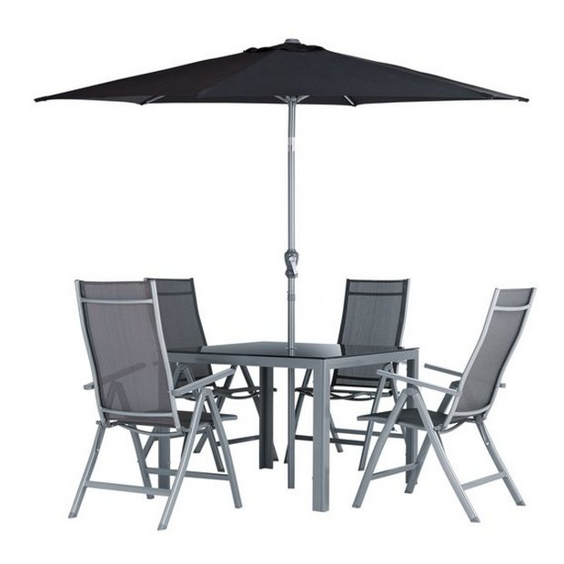 buy collection malibu 4 seater steel patio set at argoscouk your online shop for garden table and chair sets garden furniture home and garden