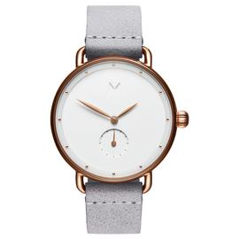 MVMT Ladies Bloom Grey Leather Strap Watch