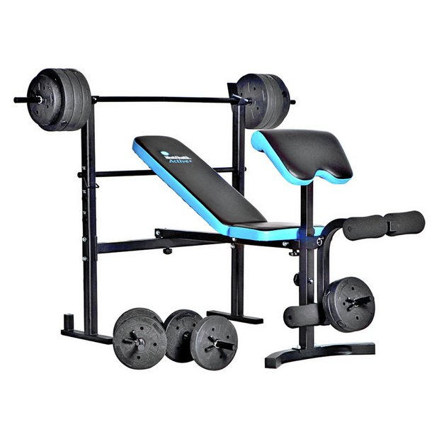 Men's Health Folding Bench & Preacher with 50kg Weights
