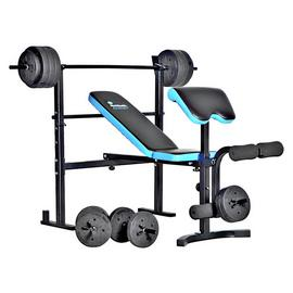 Men's Health Folding Bench & Preacher with 50kg Weights