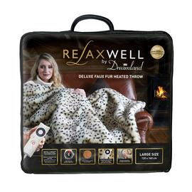 Relaxwell by Dreamland Leopard Print Faux Fur Heated Throw