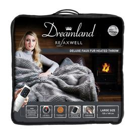 Relaxwell by Dreamland Zebra Print Faux Fur Heated Throw