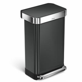 simplehuman 45 Litre Pocketed Bin - Black Stainless Steel