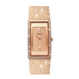 Seksy By Sekonda Ladies Cream Stone Set Strap Watch