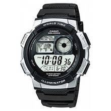 Casio Men's World Time LCD Black Resin Strap Watch