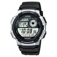 Casio Men's Black Resin Strap World Time LCD Watch
