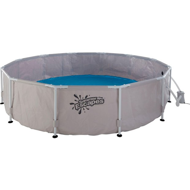 Buy summer escapes round frame pool 12ft 6056 litres for Garden pool argos
