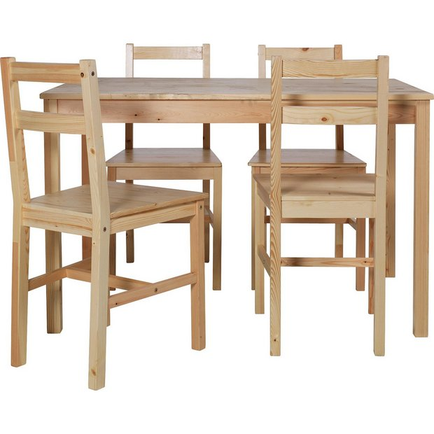 Buy HOME Raye Solid Wood Dining Table And 4 Chairs Natural At