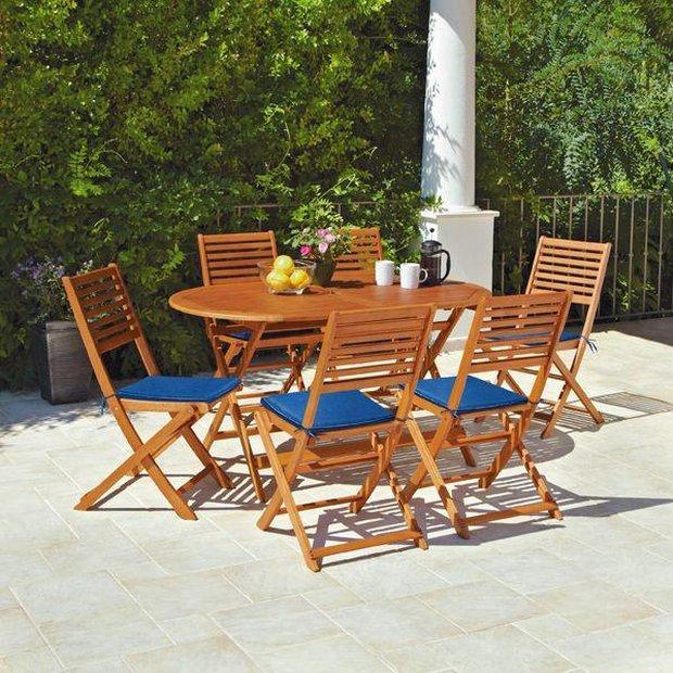 Buy Argos Home Newbury 6 Seater Wooden Patio Set Garden Table