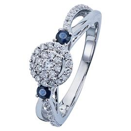 Revere 9ct White Gold Sapphire and 0.33ct Diamond Halo Ring