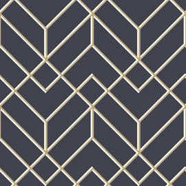 Superfresco Easy Filaires Navy & Gold Geometric Wallpaper