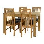 more details on HOME Penley / Pentley Oak Ext Table & 4 Paris Chairs Choc