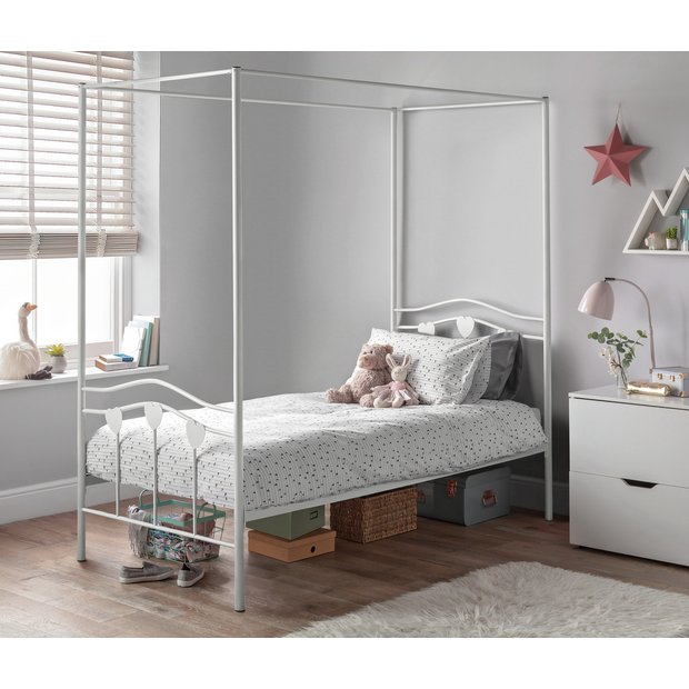 Buy Home Hearts Single 4 Poster Bed Frame White At Argos