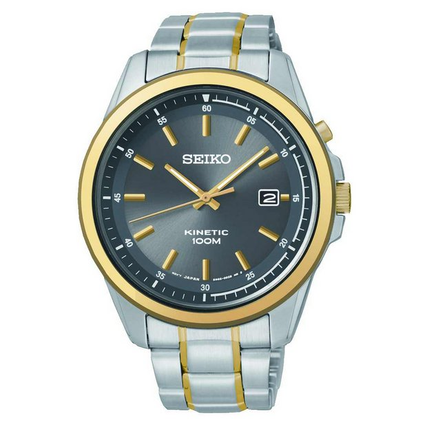 buy seiko men s watches at argos co uk your online shop for more details on seiko men s 2 tone kinetic bracelet watch