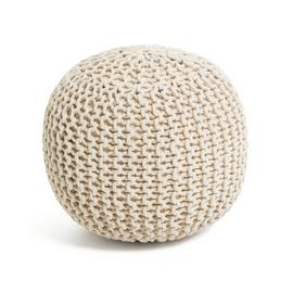 Argos Home Dottie Cotton Knitted Pod Footstool - Natural