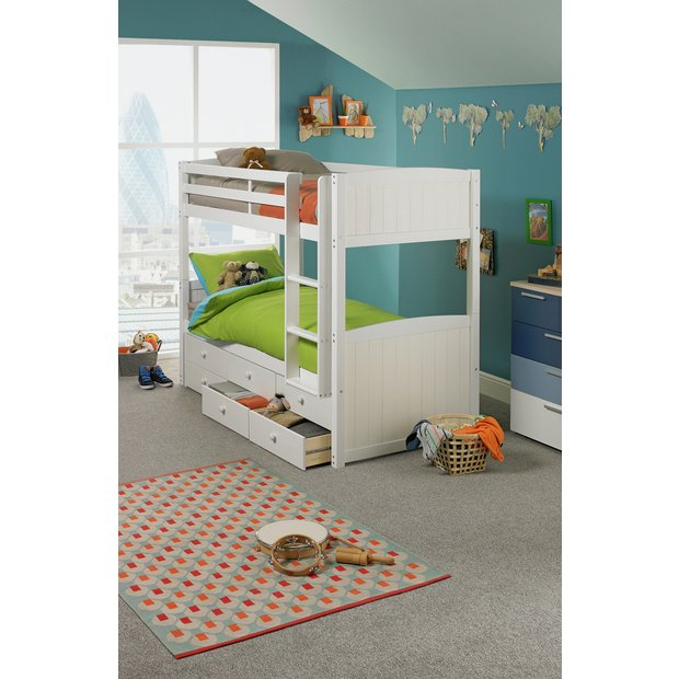 Buy home leigh detachable single bunk bed frame white at your online shop for Buy home furniture online uk