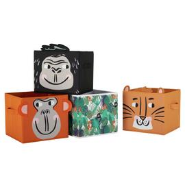 Argos Home Set of 4 Jungle Safari Canvas Boxes