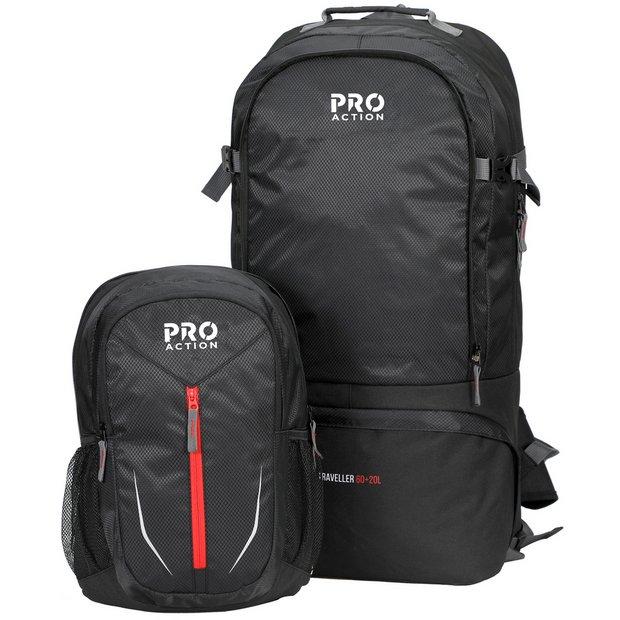 ProAction Traveller 60L + 20L Backpack - Black