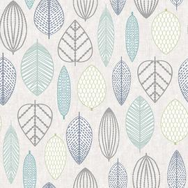 Superfresco Easy Scandi Leaf Blue Wallpaper