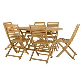 Argos Home Newbury 6 Seater Wooden Patio Set - Light Wood