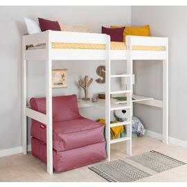 Stompa White High Sleeper Bed, Desk, Pink Chairbed& Mattress
