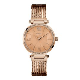 Guess Ladies Soho Rose Gold Plated Mesh Strap Watch