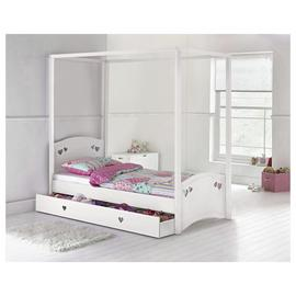 Argos Home Mia White Single 4 Poster Bed & Kids Mattress