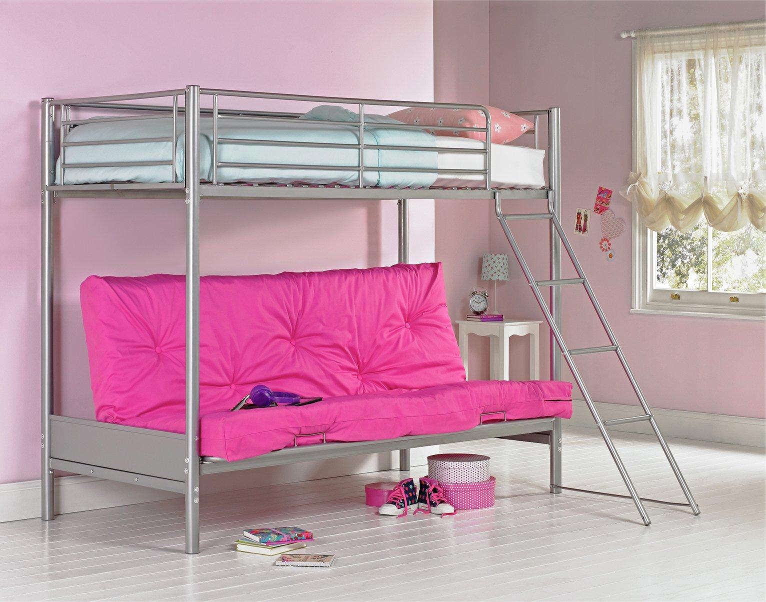 home metal futon bunk bed with kids mattress   fuchsia results for futon bunk bed  rh   argos co uk