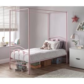 Argos Home Hearts Pink Single 4 Poster Bed Frame