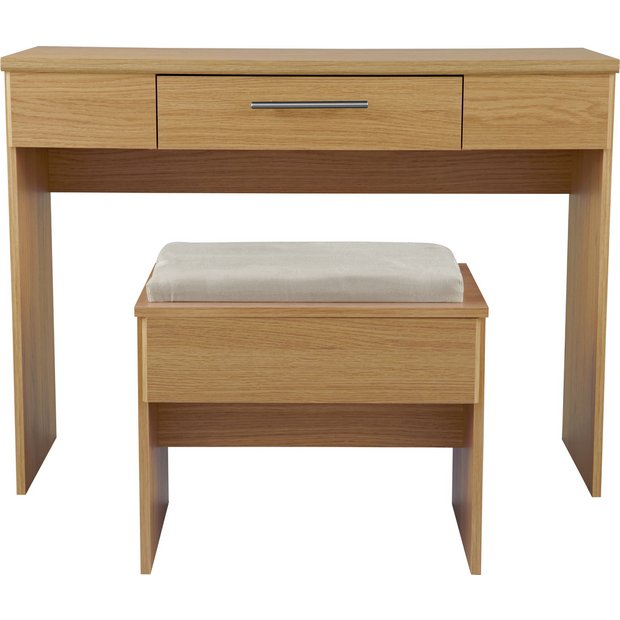 Buy Home Normandy 1 Drawer Dressing Table And Stool Oak Effect At Your Online