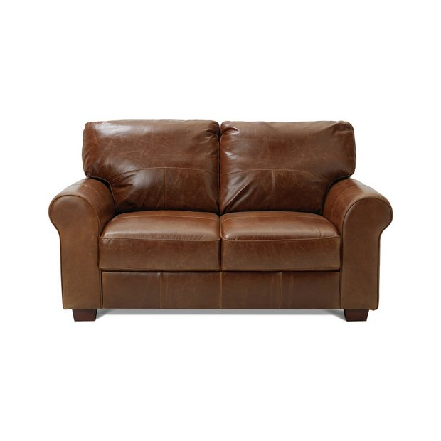 Argos Home Salisbury 2 Seater Leather Sofa - Tan