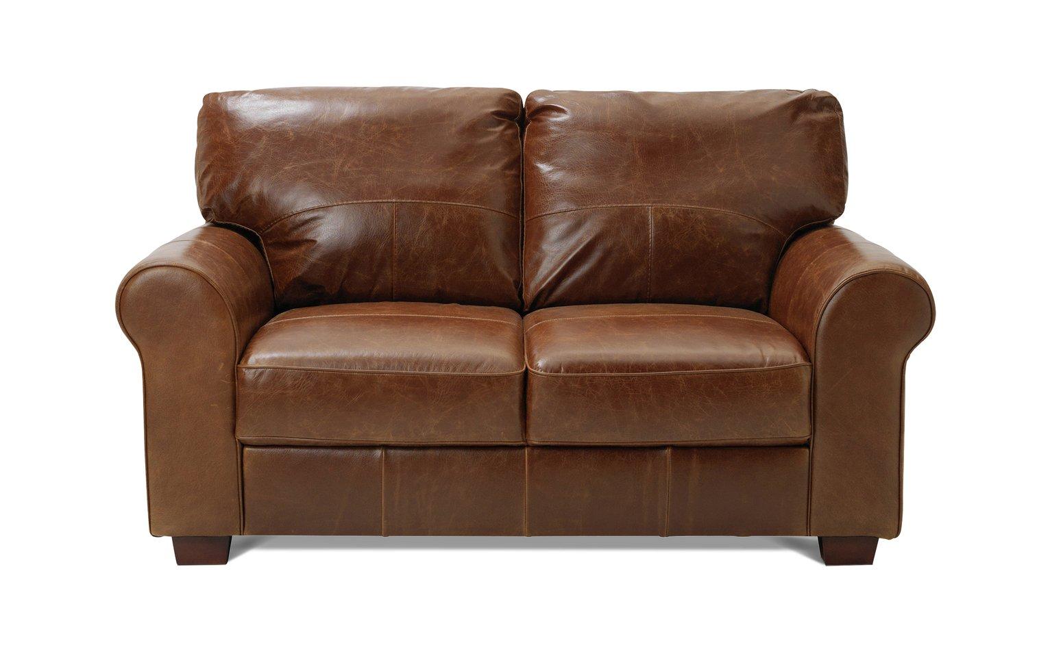 Buy Argos Home Salisbury 2 Seater Leather Sofa   Tan | Sofas | Argos