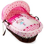 more details on Clair de Lune My Dolly Dark Wicker Moses Basket.