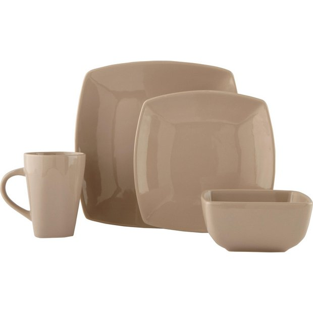 Buy Collection Bosa 16 Piece Square Stoneware Dinner Set ...