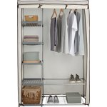 more details on HOME Metal and Polycotton Double Wardrobe - Cream.
