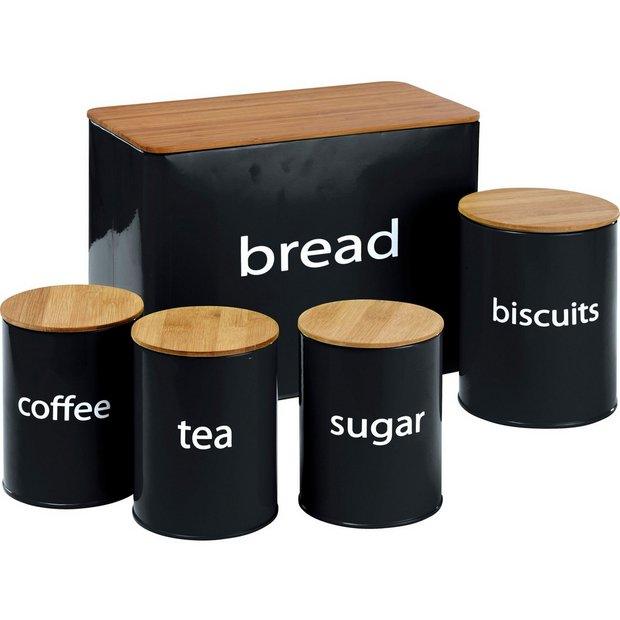Buy colourmatch 5 pack wooden lid storage jars black at for Kitchen set argos