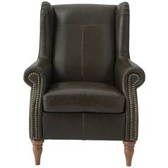 Argos Home Argyll Studded Leather High Back Chair - Dk Brown