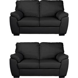 Argos Home Milano Pair of Leather 2 Seater Sofa - Black