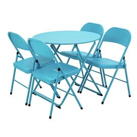 Argos Home Bright 4 Seater Bistro Set - Blue