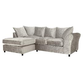 Argos Home Megan Left Corner Fabric Sofa - Silver