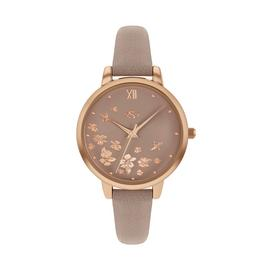 Spirit Ladies Taupe Printed Leather-Effect Strap Watch