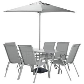 Argos Home Sicily 6 Seater Metal Patio Set - Grey