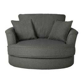 Argos Home Renley Fabric Swivel Chair - Charcoal