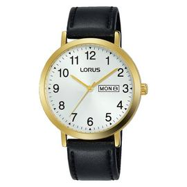 Lorus Men's Black Leather Strap Watch