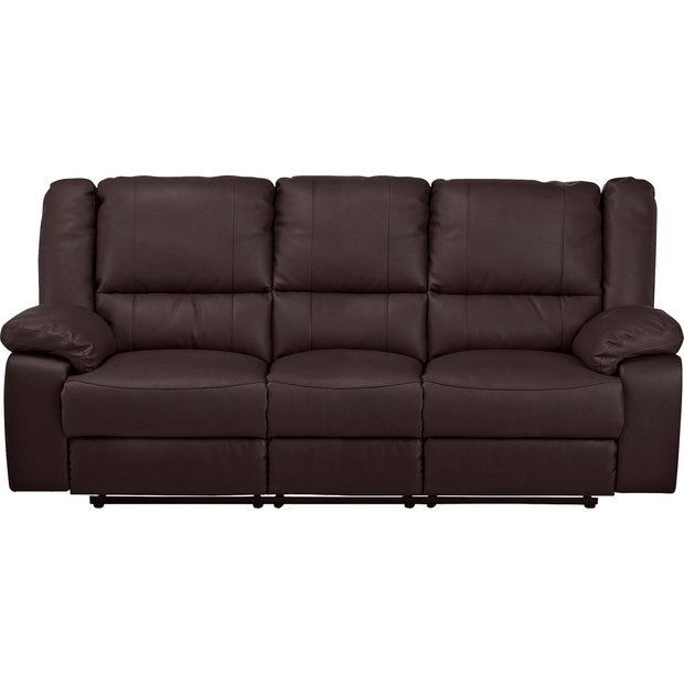 Buy Home Bruno 3 Seater Leather Eff Manual Recliner Sofa