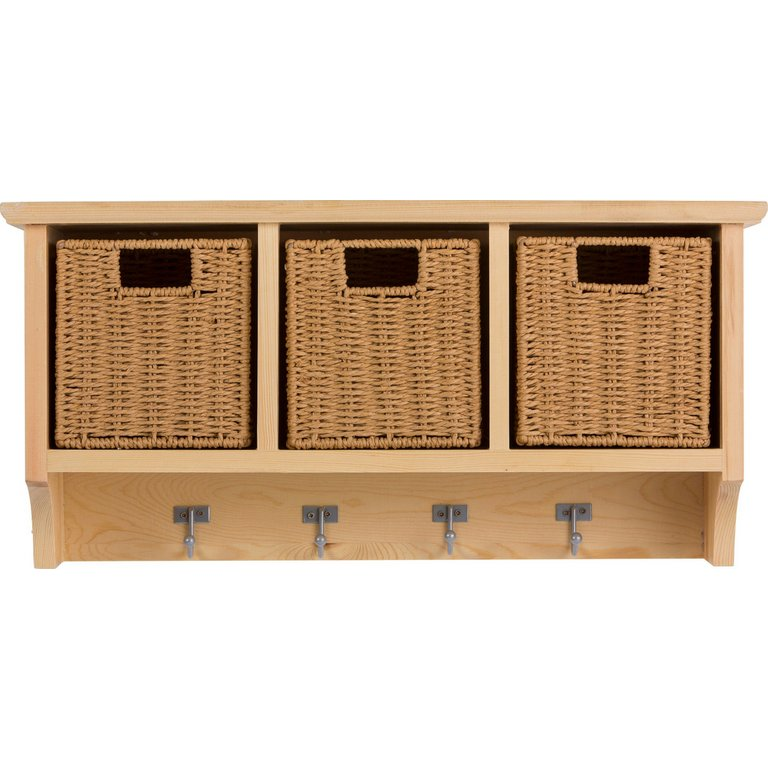 buy home pine wall storage unit with baskets at argos.co.uk - your